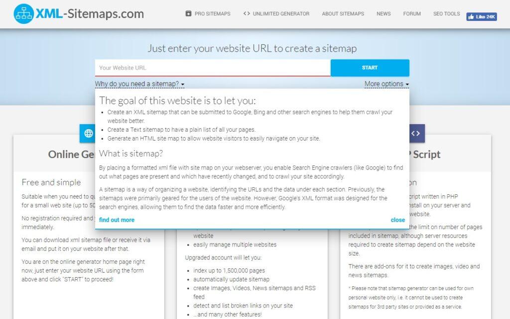 screenshot of XML sitemap generator